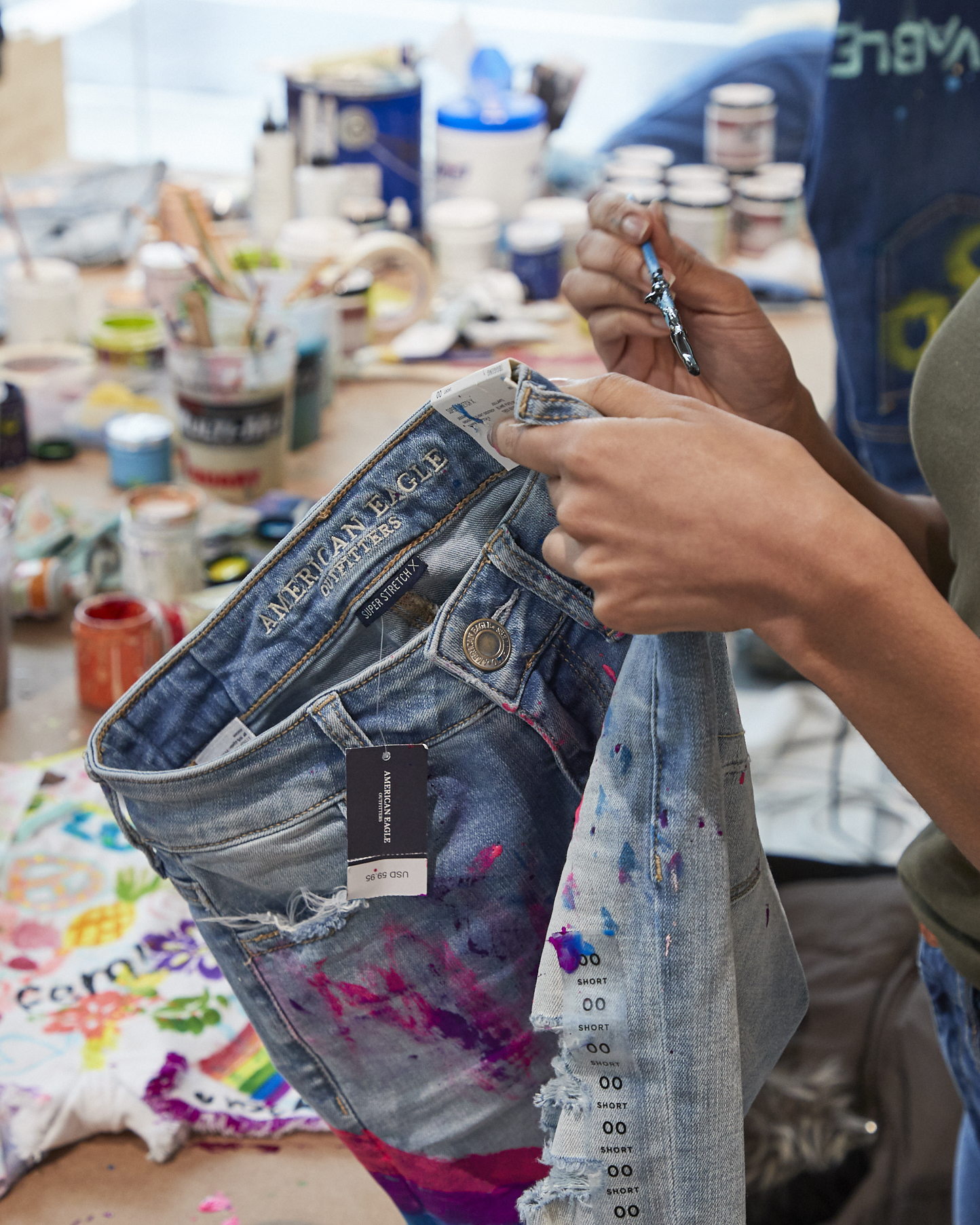 Painting/customizing American Eagle jeans