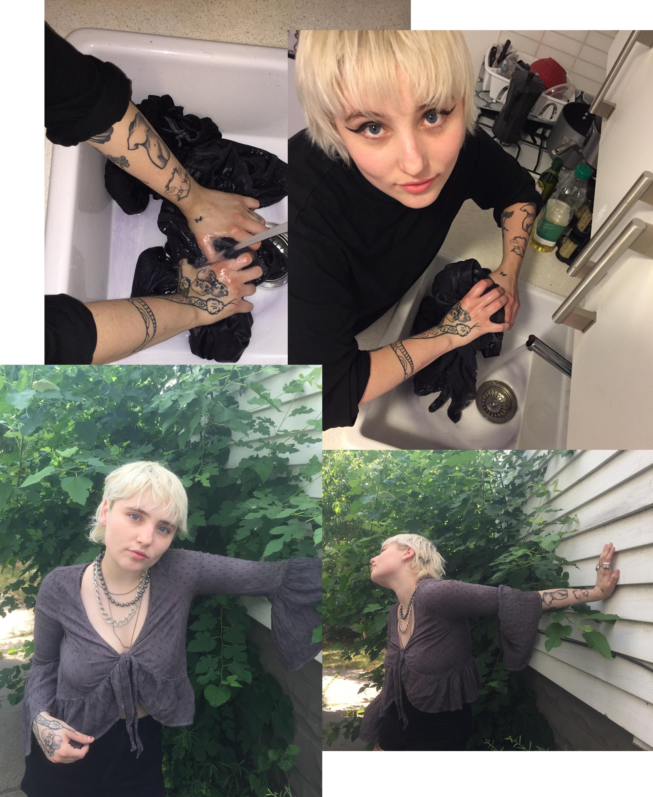 collage of Ashley customizing her denim