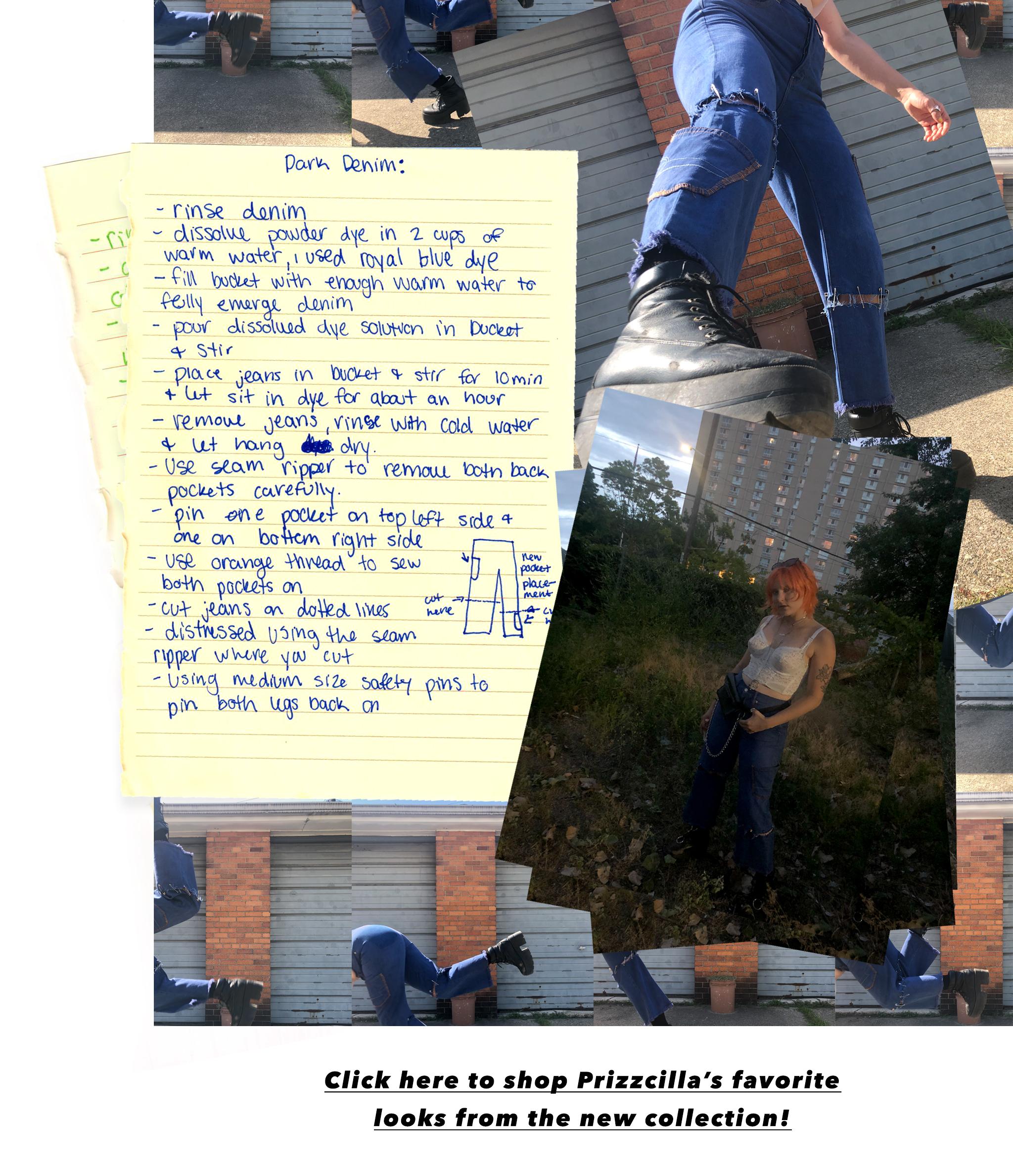 handwritten note on customizing jeans