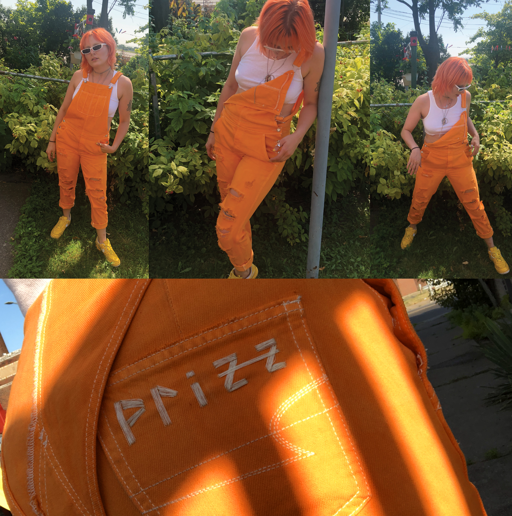 Prizzcilla in her custom made overalls