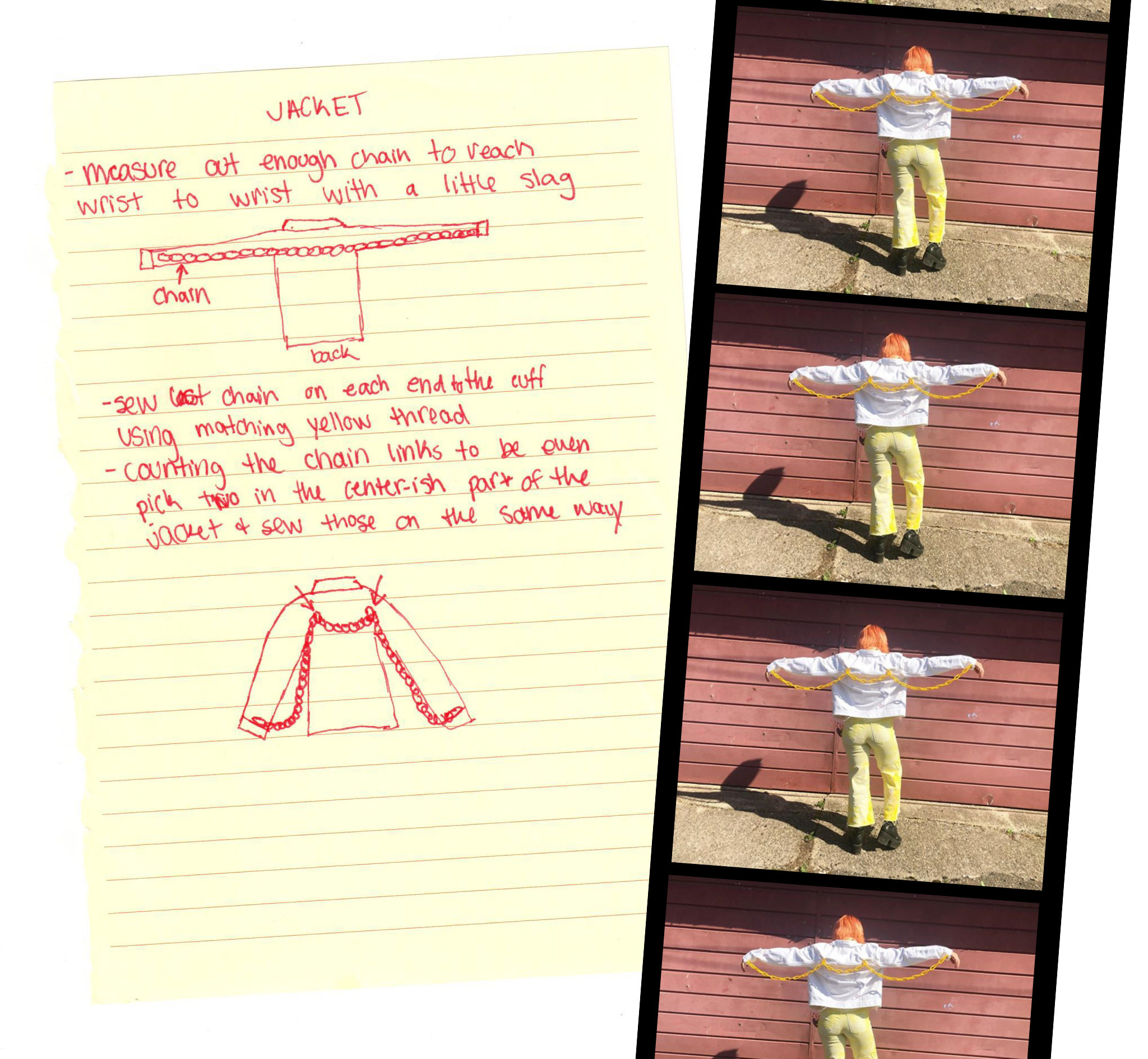 handwritten instructions for Prizzcilla's customized chain jacket