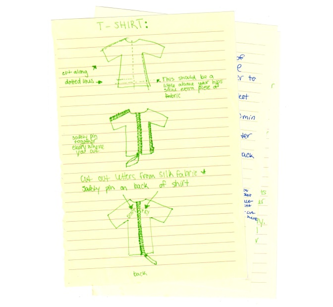 handwritten steps to create Prizzcilla's customized shirt