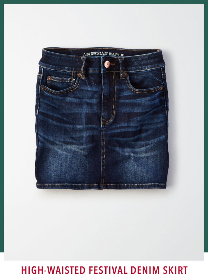 AE NE(X)T LEVEL HIGH-WAISTED FESTIVAL DENIM SKIRT