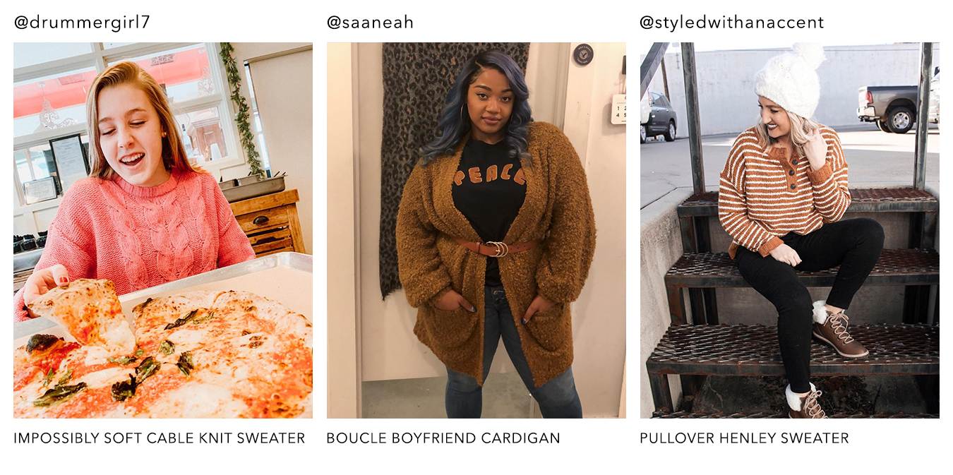 @drummergirl7, @saaneah & @styledwithanaccent in AE sweaters