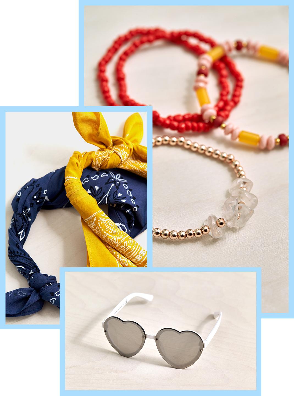 bandanas, sunglasses & bracelets