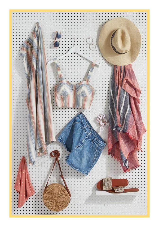 assortment of women's spring break tops, shorts & accessories