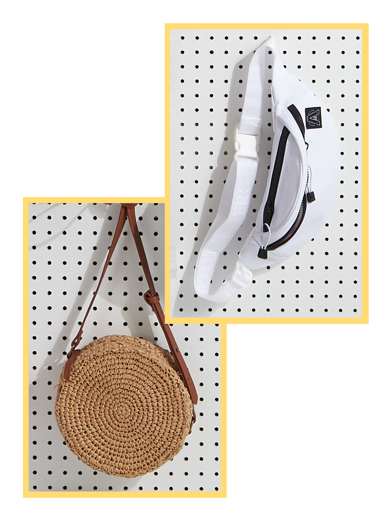 women's straw tote & men's fanny pack