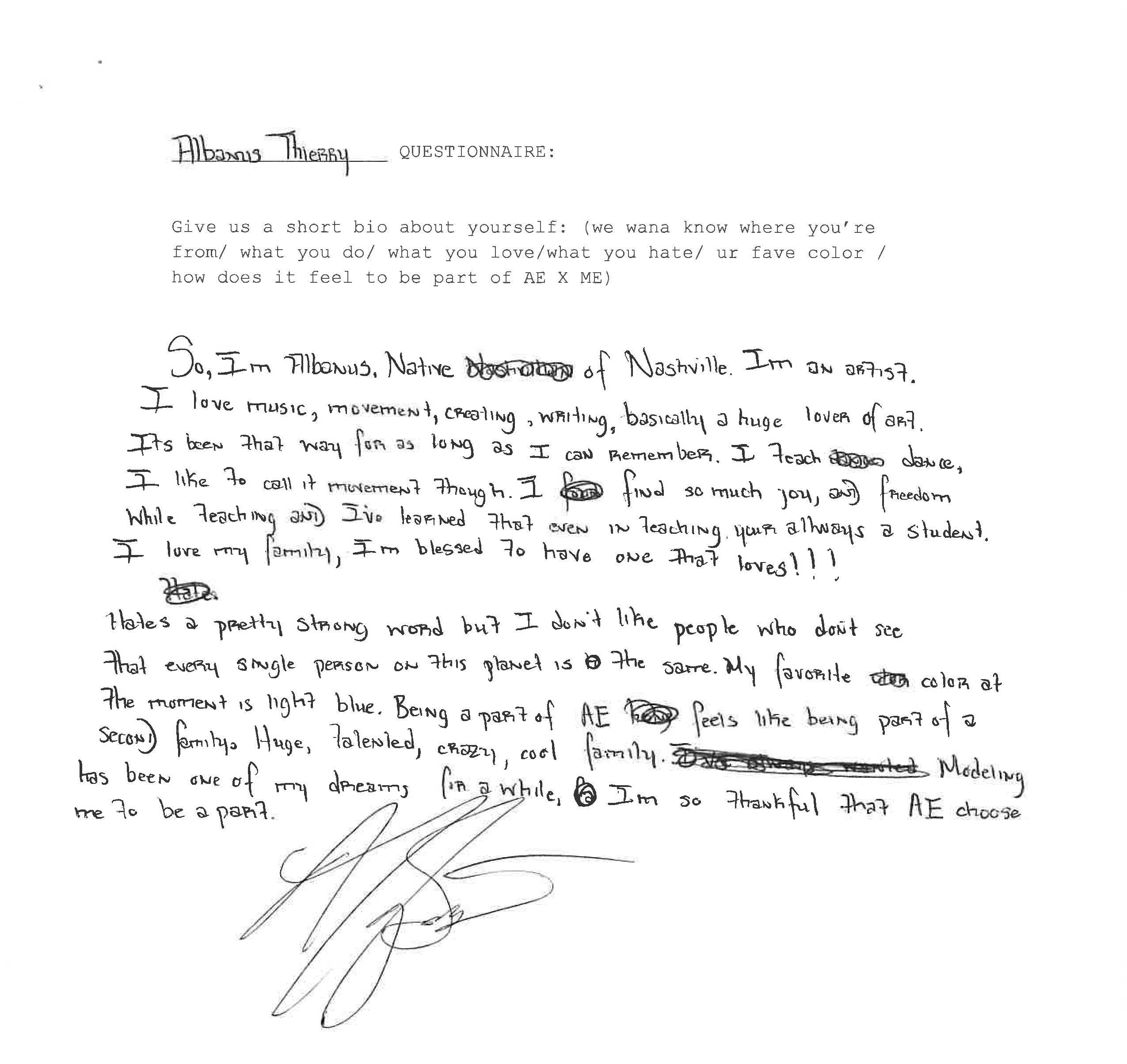 handwritten bio of @albanus_thierry