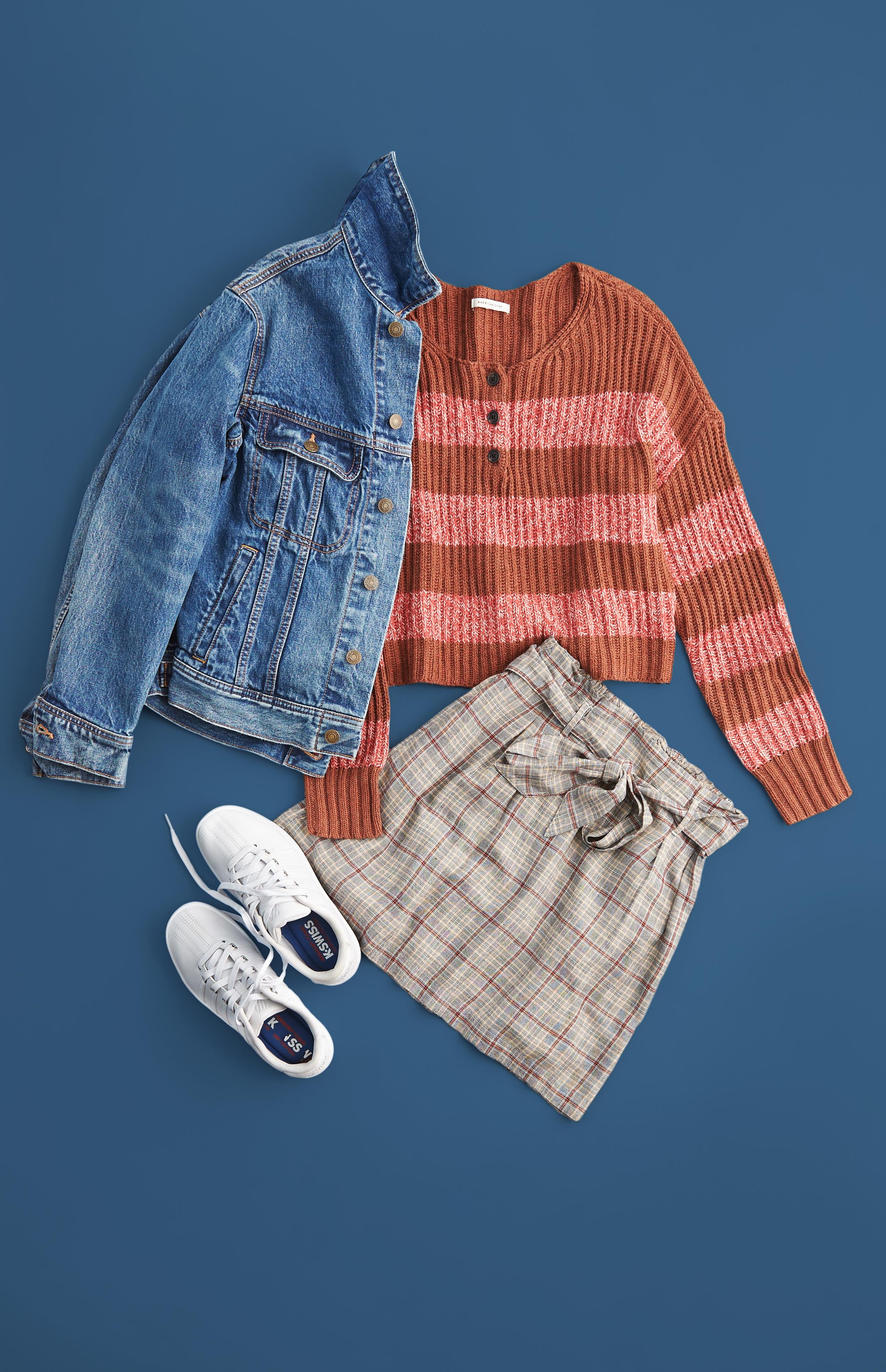 AE Mini Skirt, Henley sweater, and Denim Jacket