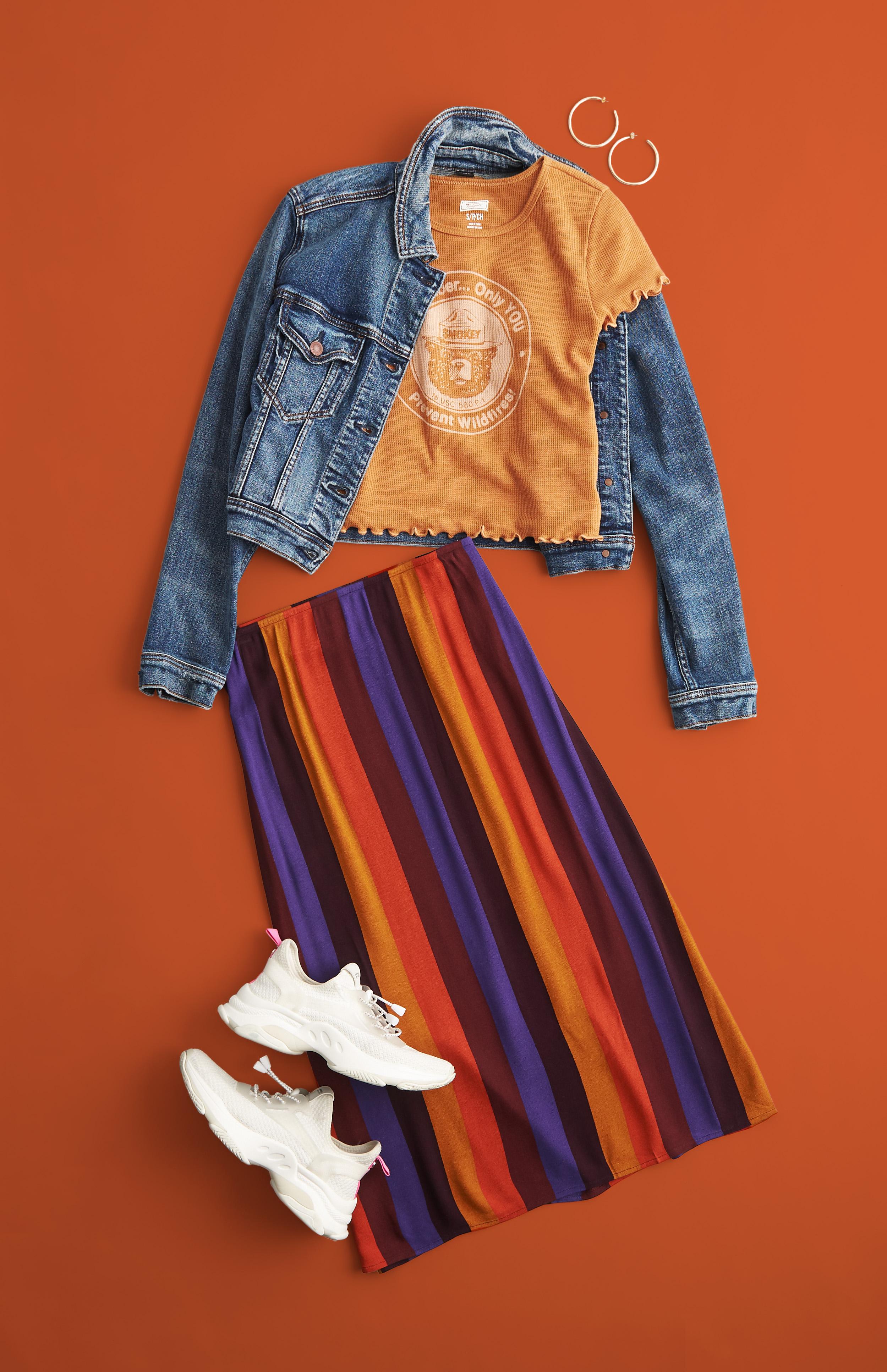 AE Midi Skirt and Denim Jacket