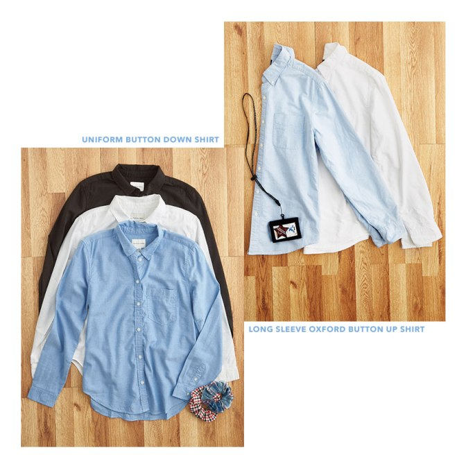 AE Uniform Button Down Shirt and Long Sleeve Oxford Button Up Shirt