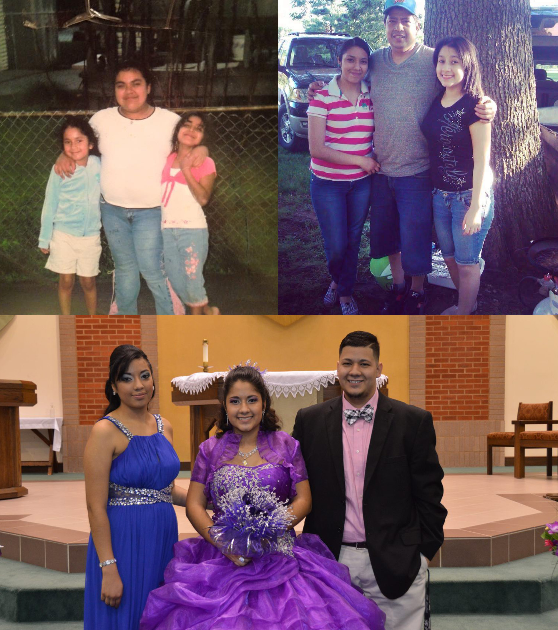 dith posing for a picture with her two older sibling Jeanette (Left) and Jose(Right) after her Quinceañera church ceremony.